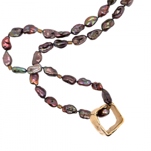 Peacock pearl necklace with handformed brass square slider.