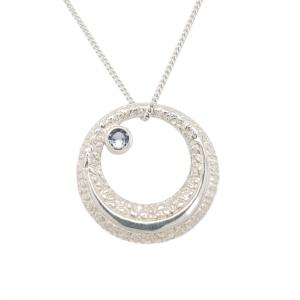 Silver eclipse pendant necklace