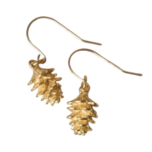 Nature inspired gold plated pinecone earrings
