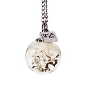 dandelion wish necklace handmade by Justine Brooks