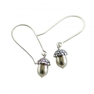 Mini silver acorn earrings handmade Canadian jewellery