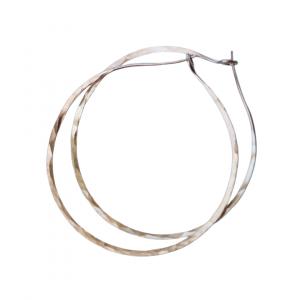 Rose gold hammered hoop earrings handmade by Justine Brooks