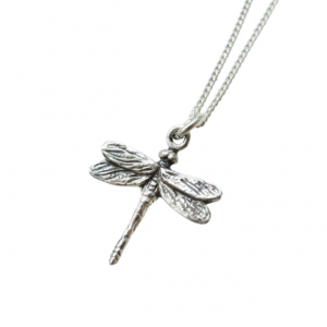 Hand-carved silver dragonfly pendant necklace