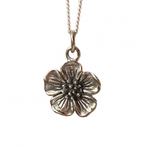 Nature inspired cherry blossom pendant necklace in silver