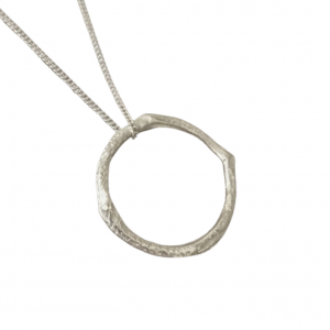 Infinity necklace cast in silver from a twig