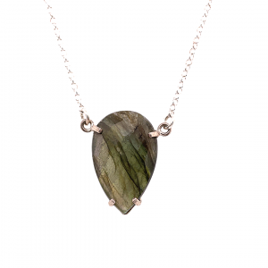 Faceted claw set labradorite pendant necklace