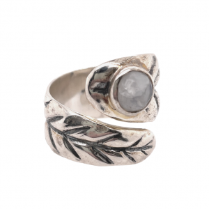 Nature inspired wrap around leaf ring in sterling silver with moonstone.