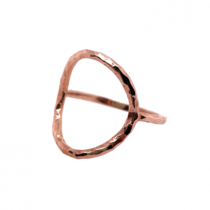 Hammered open circle ring in rose gold.