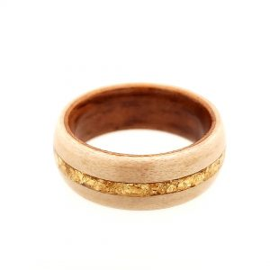 Two-tone wood ring consisting of Koa and Birdseye Maple with a gold flake inlay