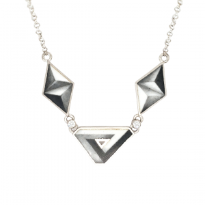illusion necklace enamel graphite handmade toronto designer