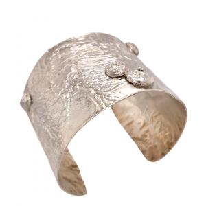 Wide textured silver cuff bracelet