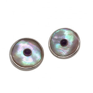 mother of pearl button studs earring with amethysts