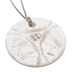Hand carved mother of pearl button pendant necklace