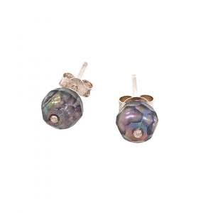 carved pearl stud earrings