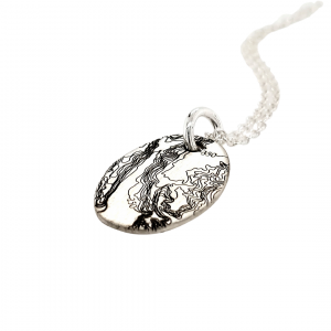 topographical map pendant in sterling silver