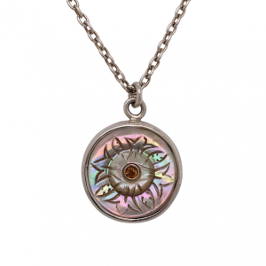 Carved rainbow mother of pearl button pendant necklace